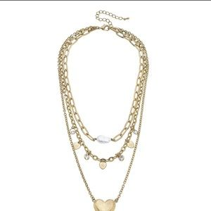 📂NWT NECKLACE Blakey Layered Heart in worn gold